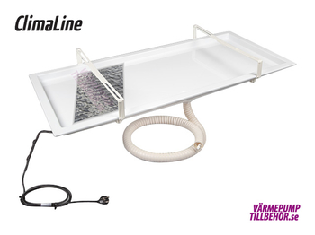 Drainage tray with built-in heating foil, complete kit including thermostat, drainhose and heating cable
